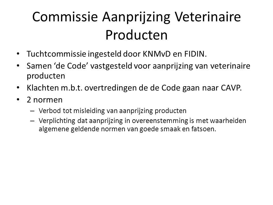 Commissie Aanprijzing Veterinaire Producten Tuchtcommissie ingesteld door KNMvD en FIDIN. Samen 'de Code' vastgesteld voor aanprijzing van veterinaire