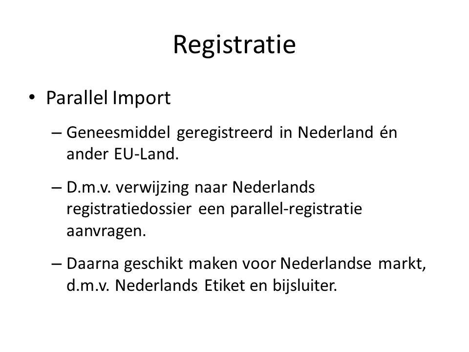 Registratie Parallel Import – Geneesmiddel geregistreerd in Nederland én ander EU-Land. – D.m.v. verwijzing naar Nederlands registratiedossier een par