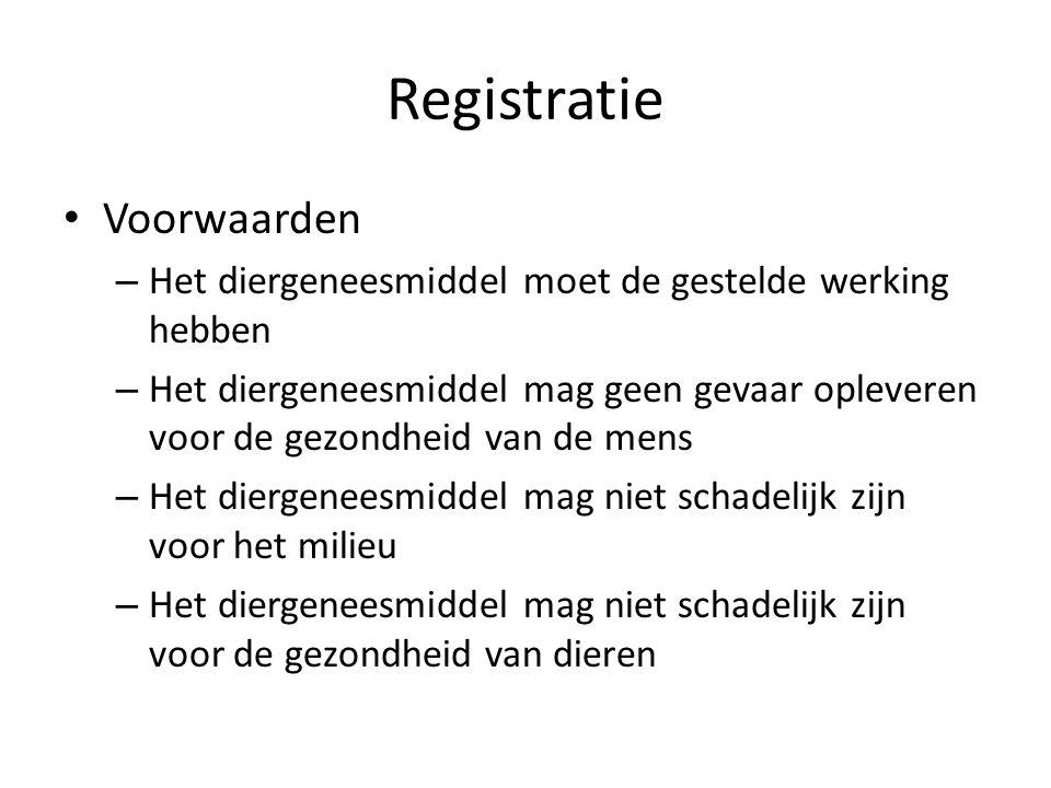 Registratie Voorwaarden – Het diergeneesmiddel moet de gestelde werking hebben – Het diergeneesmiddel mag geen gevaar opleveren voor de gezondheid van