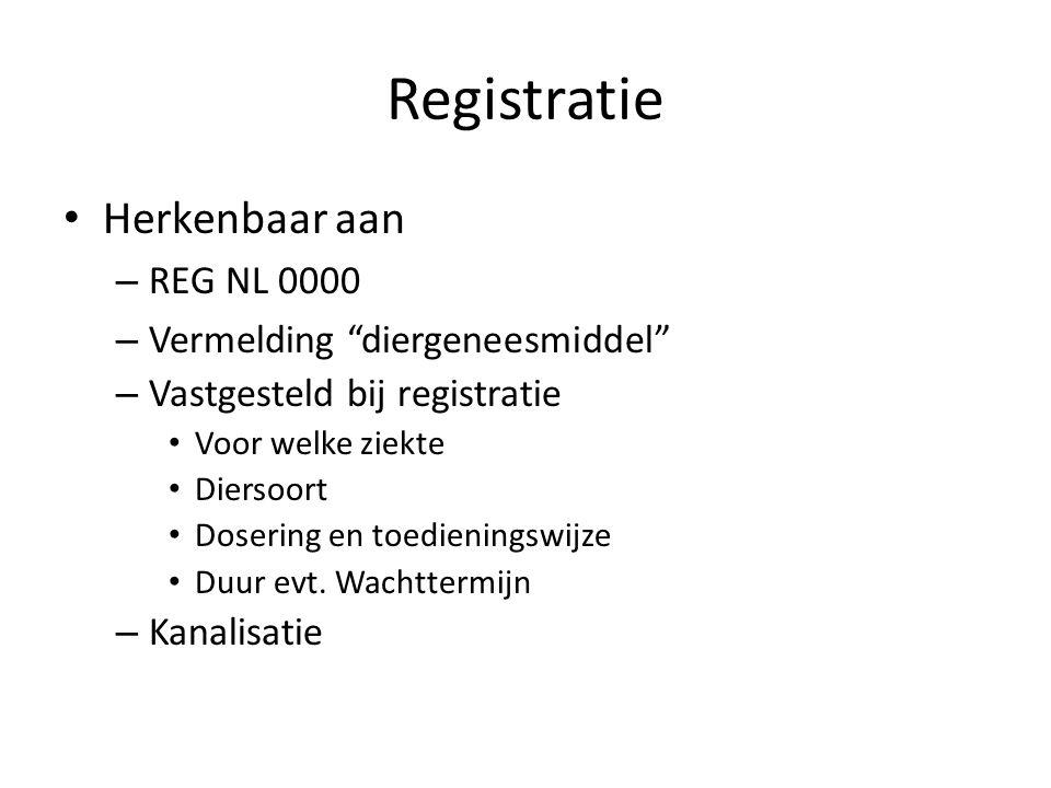 """Registratie Herkenbaar aan – REG NL 0000 – Vermelding """"diergeneesmiddel"""" – Vastgesteld bij registratie Voor welke ziekte Diersoort Dosering en toedien"""