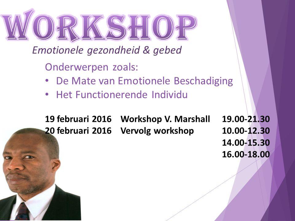 Emotionele gezondheid & gebed Onderwerpen zoals: De Mate van Emotionele Beschadiging Het Functionerende Individu 19 februari 2016 Workshop V. Marshall