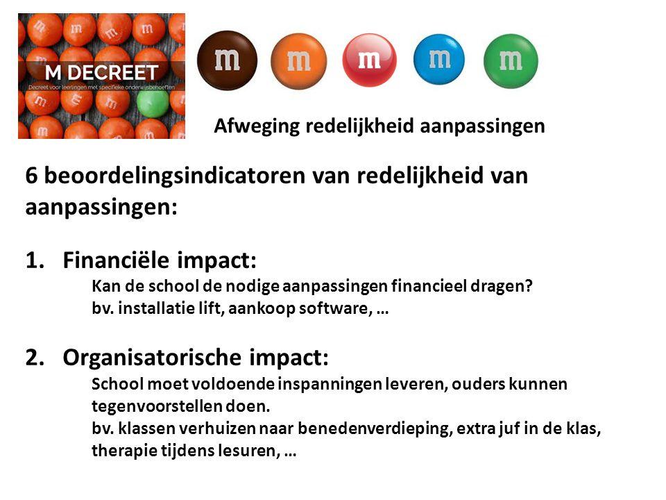 Afweging redelijkheid aanpassingen 6 beoordelingsindicatoren van redelijkheid van aanpassingen: 1.Financiële impact: Kan de school de nodige aanpassingen financieel dragen.