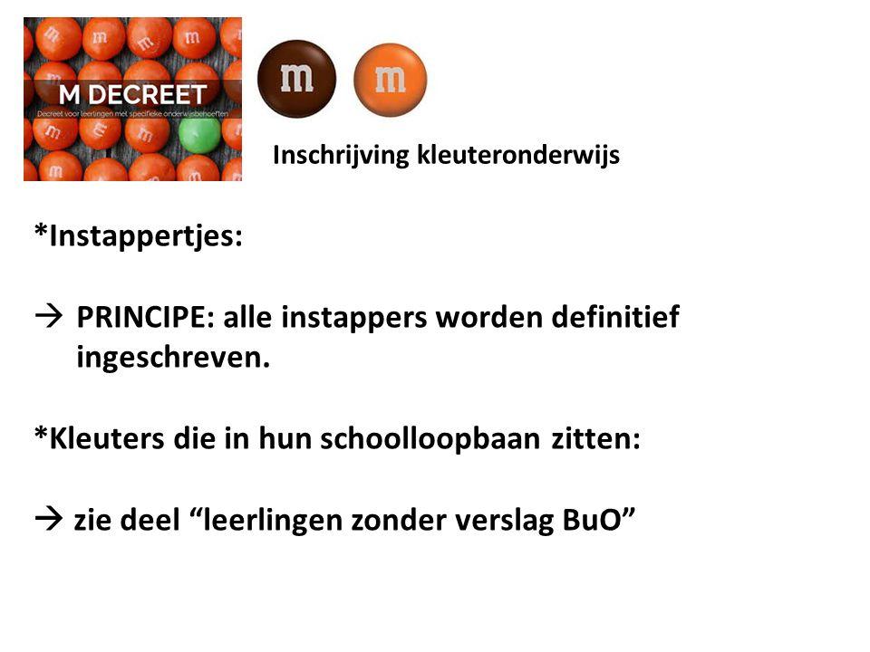 Inschrijving kleuteronderwijs *Instappertjes:  PRINCIPE: alle instappers worden definitief ingeschreven.