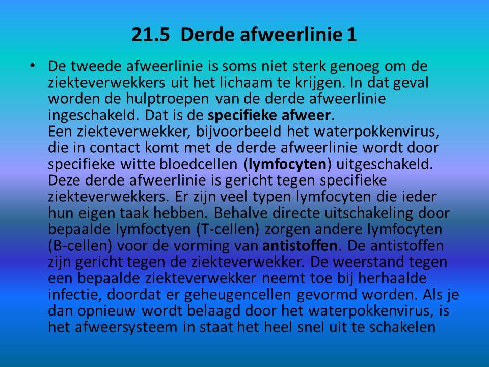 21.5 Derde afweerlinie 1 De tweede afweerlinie is soms niet sterk genoeg om de ziekteverwekkers uit het lichaam te krijgen.