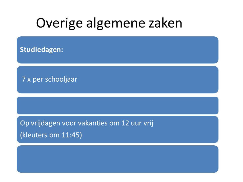 Overige algemene zaken Studiedagen: 7 x per schooljaar Op vrijdagen voor vakanties om 12 uur vrij (kleuters om 11:45)