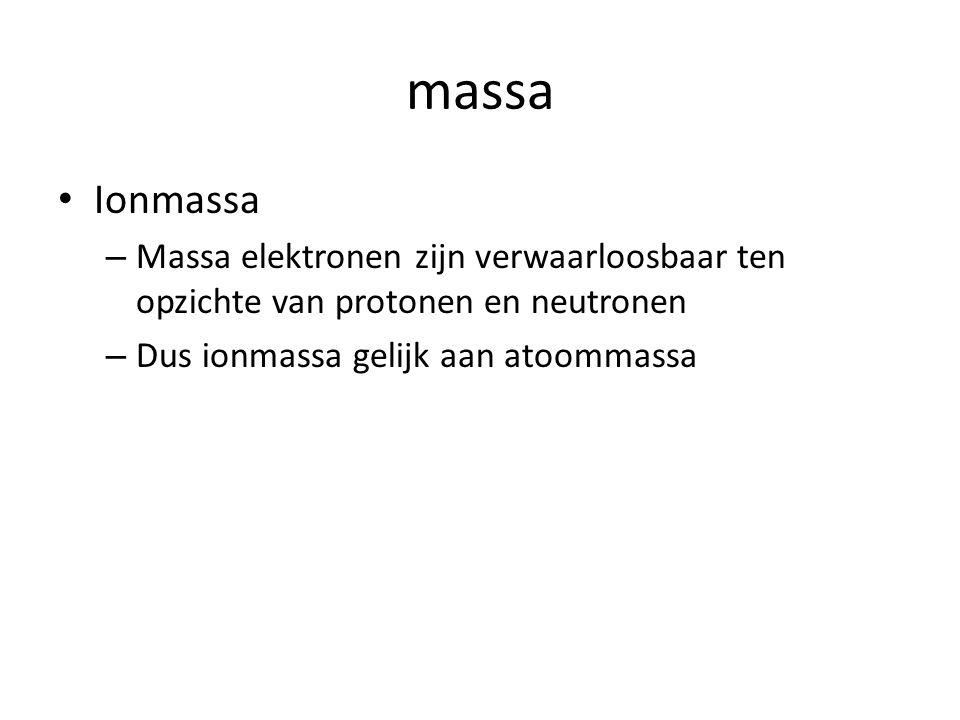 massa Ionmassa – Massa elektronen zijn verwaarloosbaar ten opzichte van protonen en neutronen – Dus ionmassa gelijk aan atoommassa