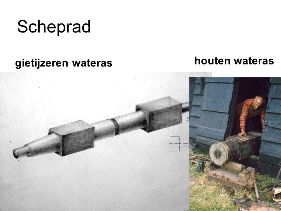 Scheprad houten wateras gietijzeren wateras