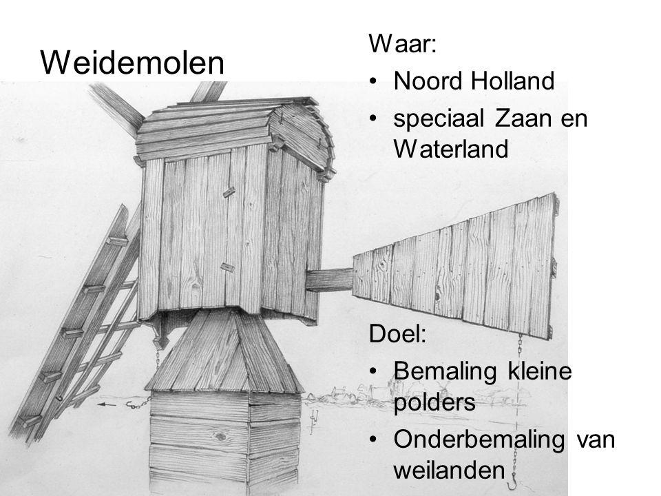 Weidemolen Waar: Noord Holland speciaal Zaan en Waterland Doel: Bemaling kleine polders Onderbemaling van weilanden