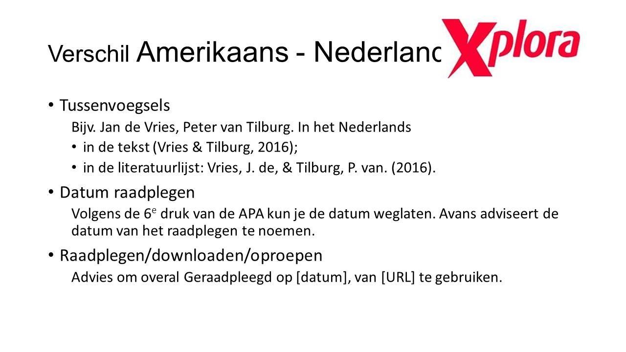 Verschil Amerikaans - Nederlands Tussenvoegsels Bijv. Jan de Vries, Peter van Tilburg. In het Nederlands in de tekst (Vries & Tilburg, 2016); in de li