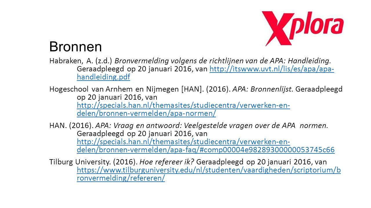 Bronnen Habraken, A. (z.d.) Bronvermelding volgens de richtlijnen van de APA: Handleiding. Geraadpleegd op 20 januari 2016, van http://itswww.uvt.nl/l