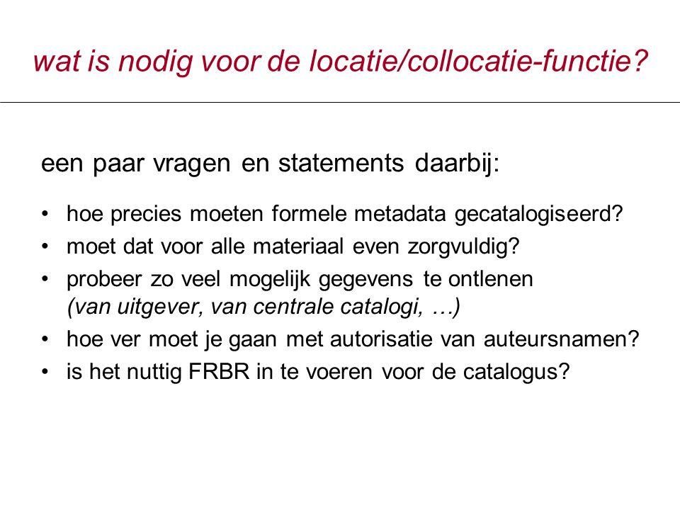 wat is nodig voor de locatie/collocatie-functie.