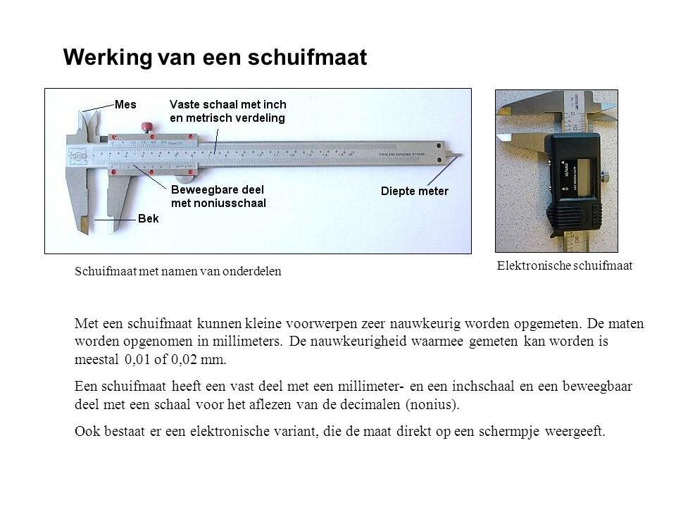 Meetnauwkeurigheid van een schuifmaat De nauwkeurigheid waarmee gemeten kan worden is meestal 0,01 of 0,02 mm.