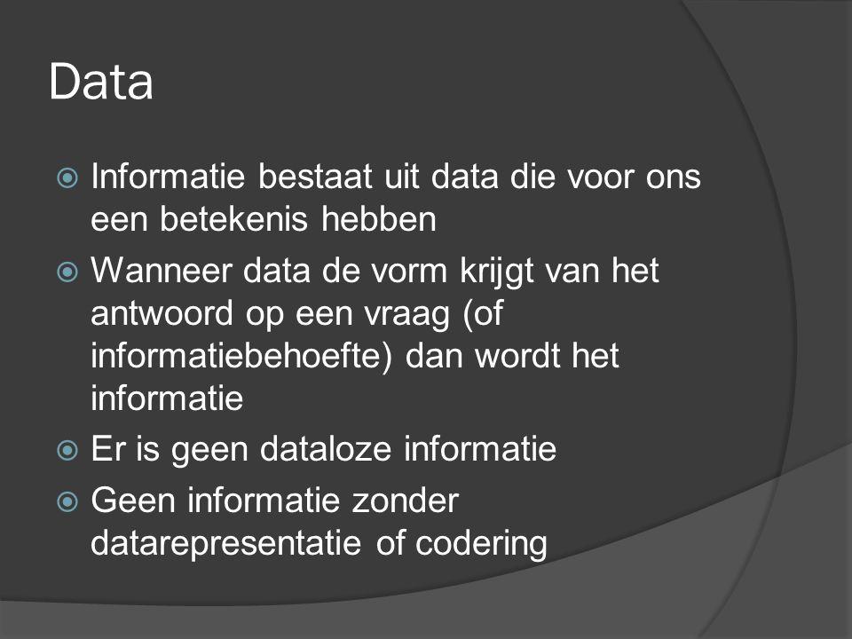 Data en informatie  De woorden data en informatie worden dikwijls door elkaar gebruikt  Ze zijn erg abstract en een definitie is altijd wat artificieel  Soms wordt het begrip data specifiek gebruikt om gegevens geschikt voor de computer aan te duiden