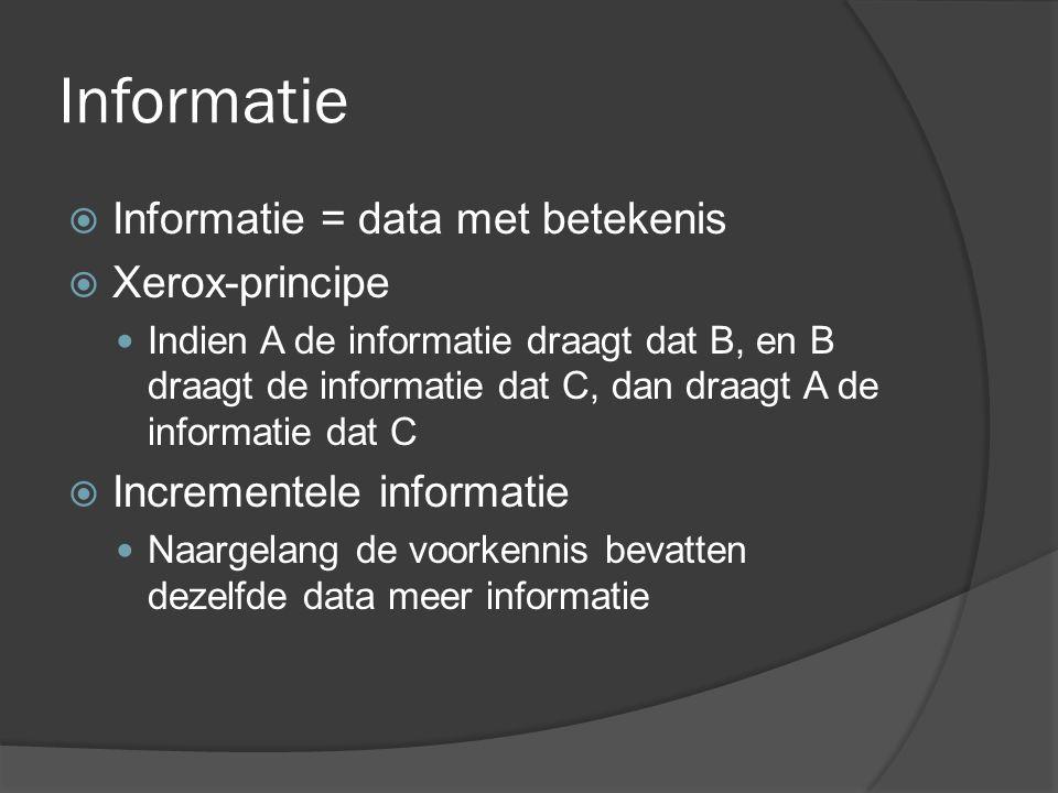 Data  Informatie bestaat uit data die voor ons een betekenis hebben  Wanneer data de vorm krijgt van het antwoord op een vraag (of informatiebehoefte) dan wordt het informatie  Er is geen dataloze informatie  Geen informatie zonder datarepresentatie of codering