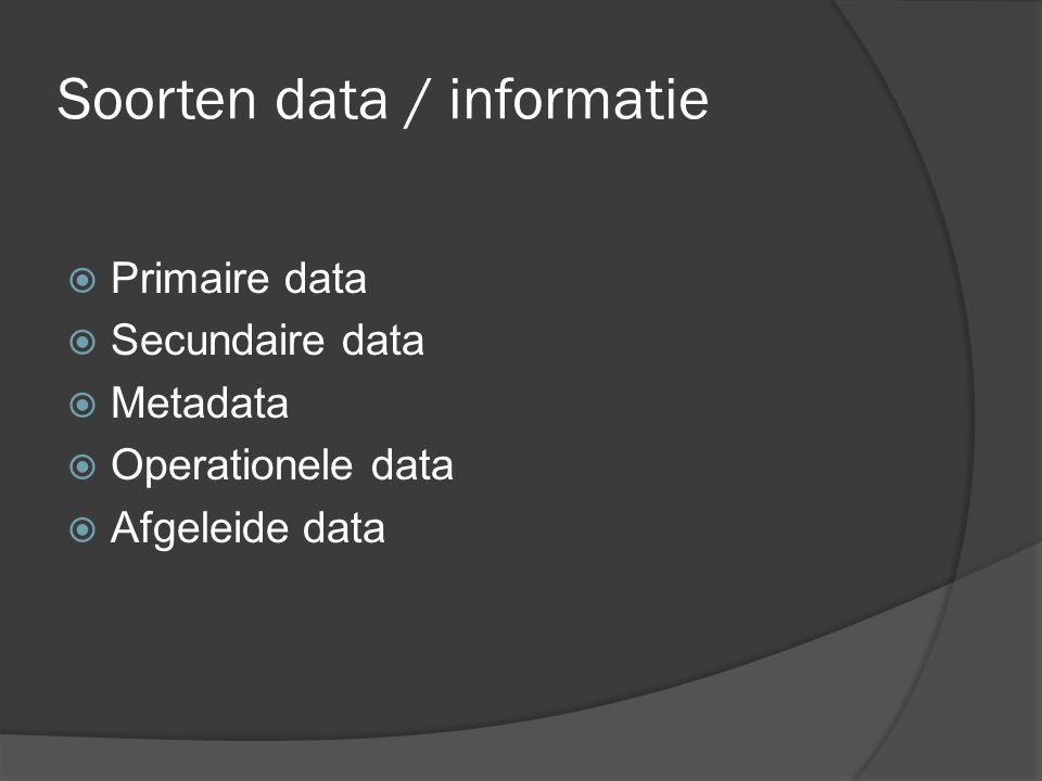 Informatie  Informatie = data met betekenis  Xerox-principe Indien A de informatie draagt dat B, en B draagt de informatie dat C, dan draagt A de informatie dat C  Incrementele informatie Naargelang de voorkennis bevatten dezelfde data meer informatie