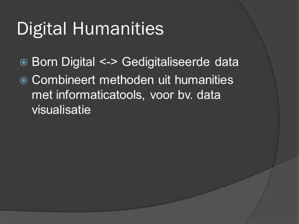 Digital Humanities  Inzet van informatietechnologie voor: verzamelen en opslaan (data capture) analyseren (data analysis) verspreiden en bewaren (data dissemination and curation) van onderzoeksgegevens in de humane wetenschappen