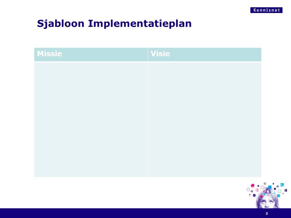 Sjabloon Implementatieplan 2 MissieVisie