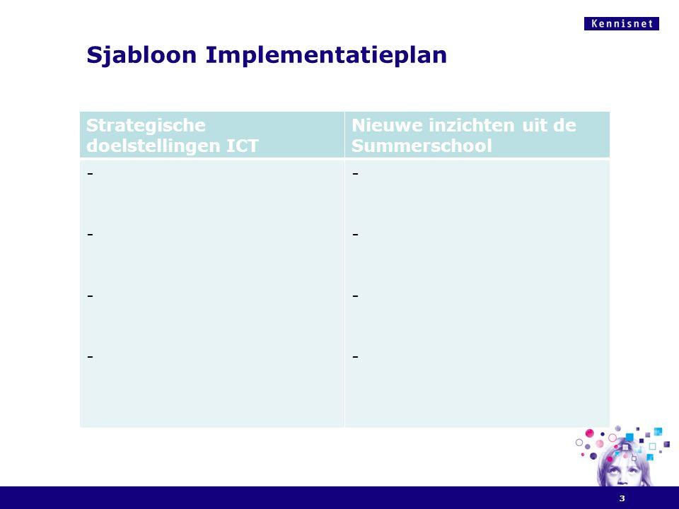 Sjabloon Implementatieplan 3 Strategische doelstellingen ICT Nieuwe inzichten uit de Summerschool -------- --------