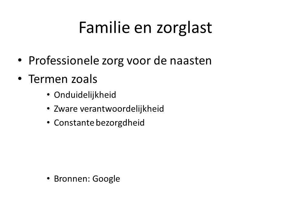 Familie en zorglast Professionele zorg voor de naasten Termen zoals Onduidelijkheid Zware verantwoordelijkheid Constante bezorgdheid Bronnen: Google