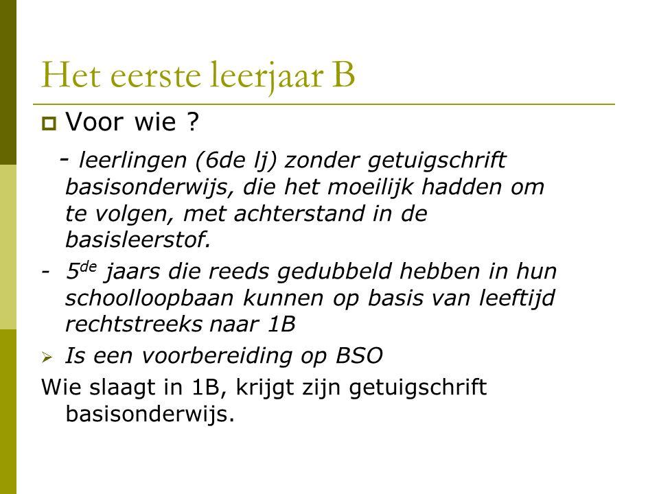 Het eerste leerjaar B  Voor wie ? - leerlingen (6de lj) zonder getuigschrift basisonderwijs, die het moeilijk hadden om te volgen, met achterstand in