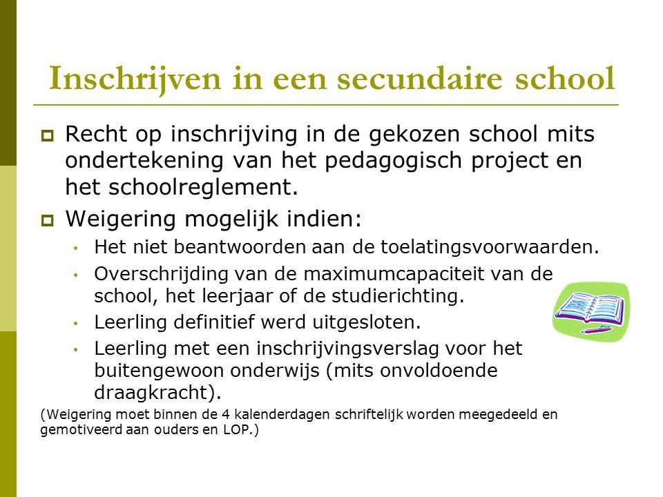Inschrijven in een secundaire school  Recht op inschrijving in de gekozen school mits ondertekening van het pedagogisch project en het schoolreglemen
