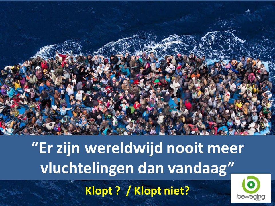 Er zijn wereldwijd nooit meer vluchtelingen dan vandaag Klopt ? / Klopt niet?