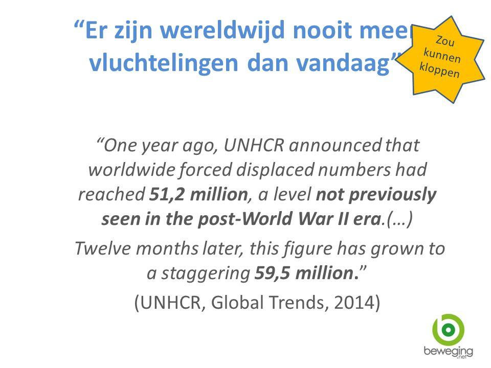 Er zijn wereldwijd nooit meer vluchtelingen dan vandaag One year ago, UNHCR announced that worldwide forced displaced numbers had reached 51,2 million, a level not previously seen in the post-World War II era.(…) Twelve months later, this figure has grown to a staggering 59,5 million. (UNHCR, Global Trends, 2014) Zou kunnen kloppen