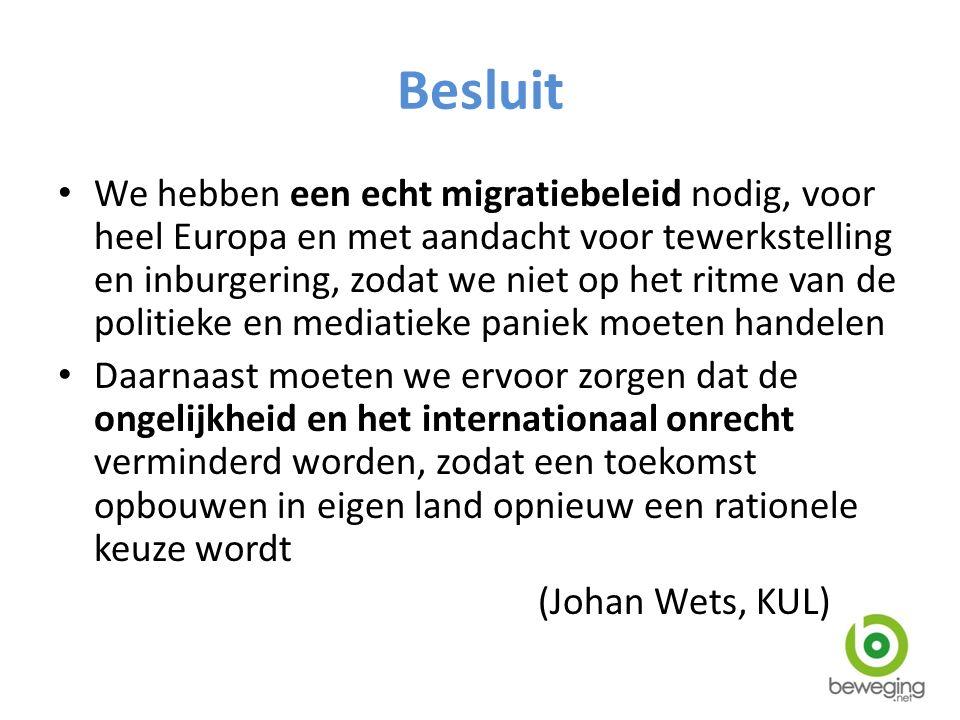 Besluit We hebben een echt migratiebeleid nodig, voor heel Europa en met aandacht voor tewerkstelling en inburgering, zodat we niet op het ritme van d