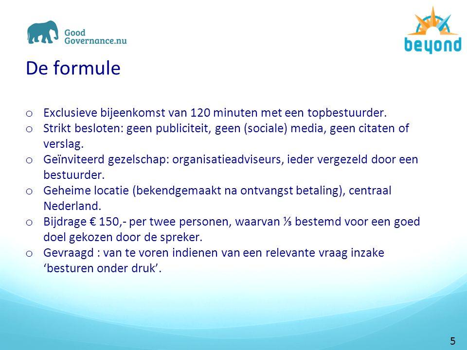 De formule o Exclusieve bijeenkomst van 120 minuten met een topbestuurder.
