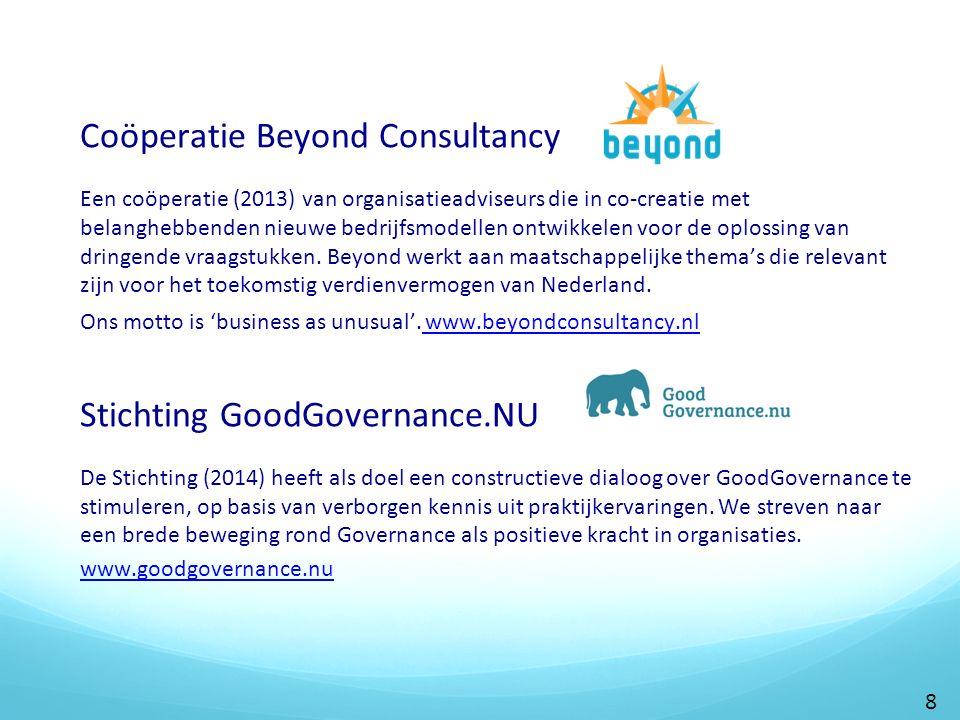Coöperatie Beyond Consultancy Een coöperatie (2013) van organisatieadviseurs die in co-creatie met belanghebbenden nieuwe bedrijfsmodellen ontwikkelen voor de oplossing van dringende vraagstukken.