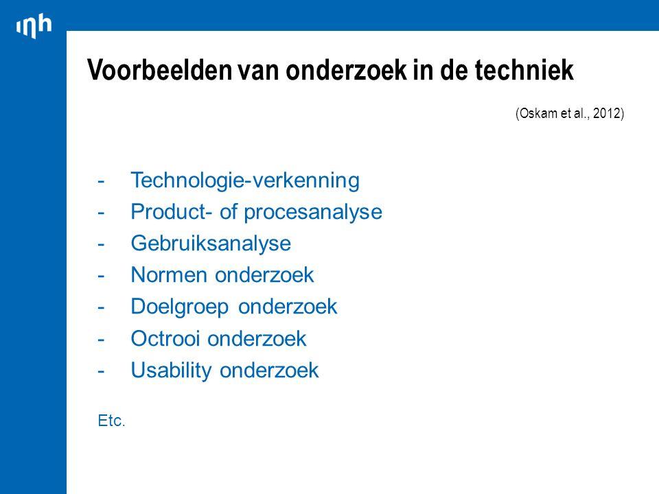 Voorbeelden van onderzoek in de techniek (Oskam et al., 2012) -Technologie-verkenning -Product- of procesanalyse -Gebruiksanalyse -Normen onderzoek -D