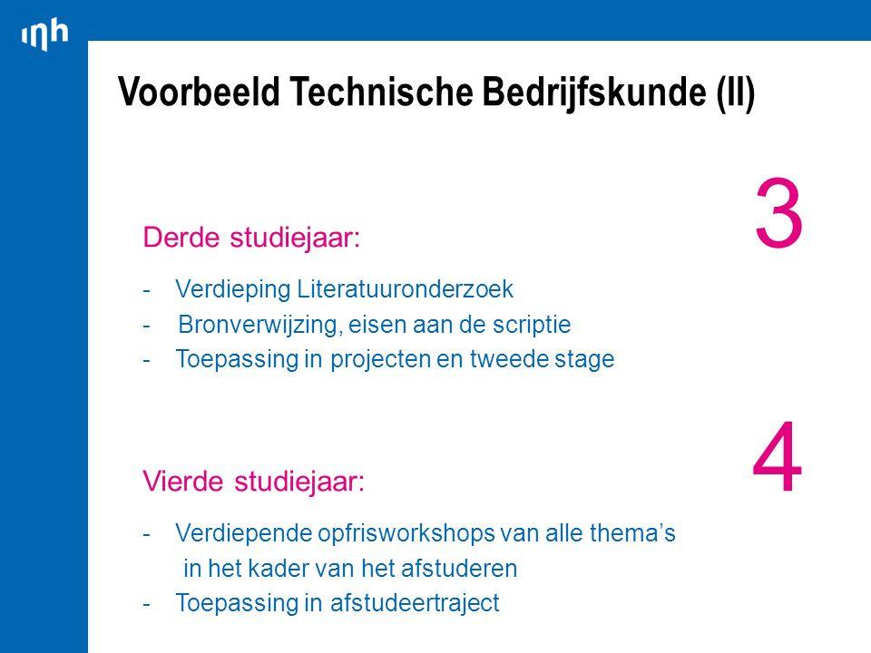 Voorbeeld Technische Bedrijfskunde (II) Derde studiejaar: 3 -Verdieping Literatuuronderzoek - Bronverwijzing, eisen aan de scriptie -Toepassing in pro