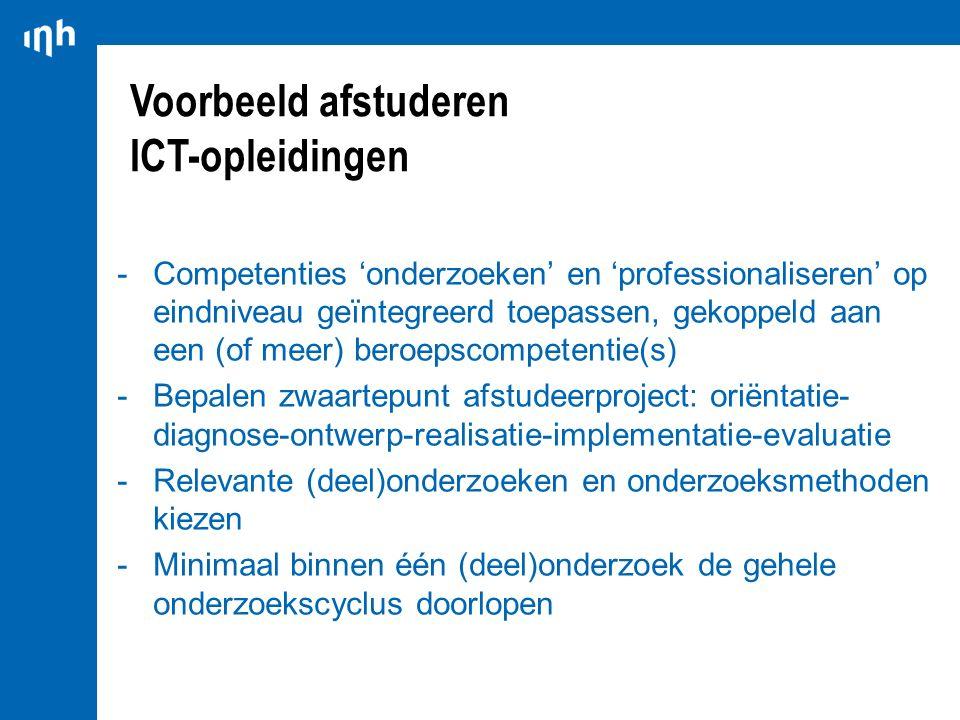 Voorbeeld afstuderen ICT-opleidingen -Competenties 'onderzoeken' en 'professionaliseren' op eindniveau geïntegreerd toepassen, gekoppeld aan een (of m