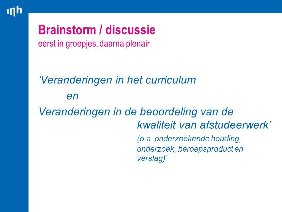 Brainstorm / discussie eerst in groepjes, daarna plenair 'Veranderingen in het curriculum en Veranderingen in de beoordeling van de kwaliteit van afst