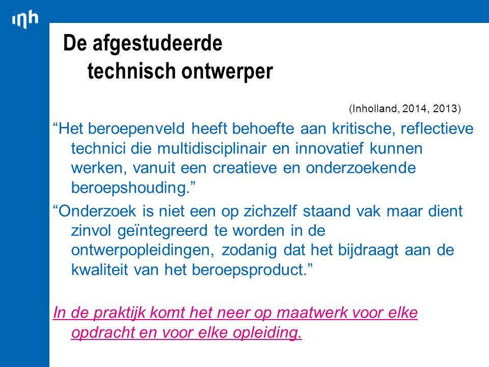 """De afgestudeerde technisch ontwerper (Inholland, 2014, 2013) """"Het beroepenveld heeft behoefte aan kritische, reflectieve technici die multidisciplinai"""