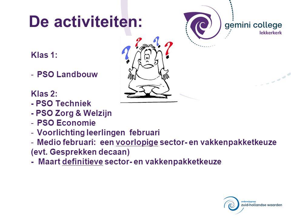 De activiteiten: Klas 1: -PSO Landbouw Klas 2: - PSO Techniek - PSO Zorg & Welzijn -PSO Economie -Voorlichting leerlingen februari -Medio februari: een voorlopige sector- en vakkenpakketkeuze (evt.