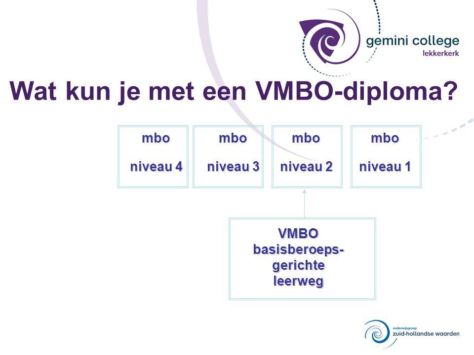 Wat kun je met een VMBO-diploma? VMBObasisberoeps-gerichteleerweg mbo niveau 4 mbo niveau 3 mbo niveau 2 mbo niveau 1
