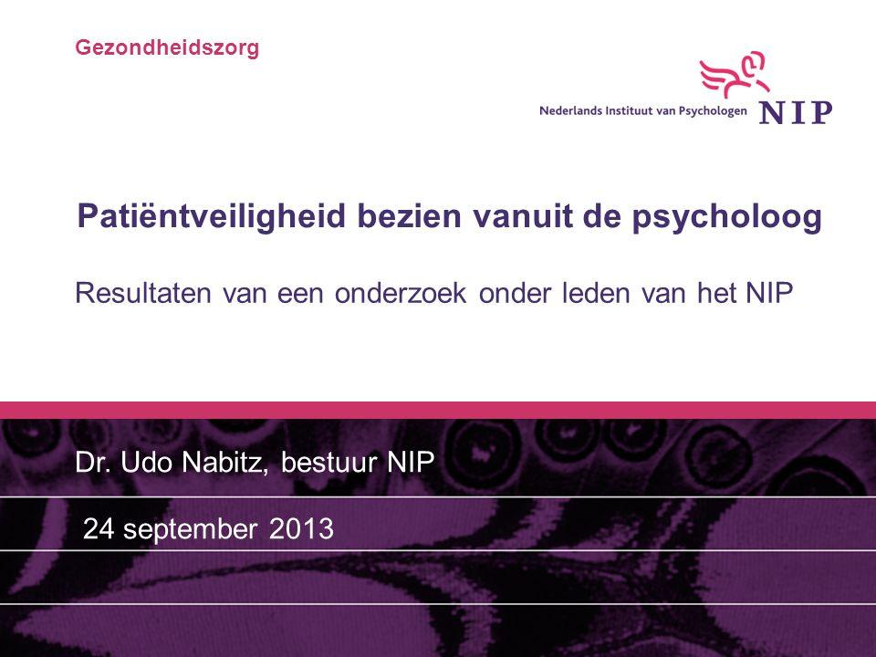 Gezondheidszorg Patiëntveiligheid bezien vanuit de psycholoog Resultaten van een onderzoek onder leden van het NIP Dr. Udo Nabitz, bestuur NIP 24 sept