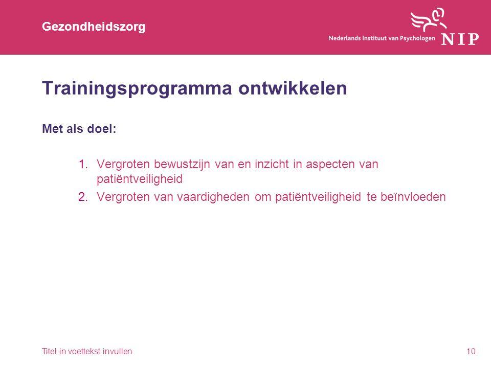 Gezondheidszorg Trainingsprogramma ontwikkelen Met als doel: 1.Vergroten bewustzijn van en inzicht in aspecten van patiëntveiligheid 2.Vergroten van vaardigheden om patiëntveiligheid te beïnvloeden Titel in voettekst invullen10