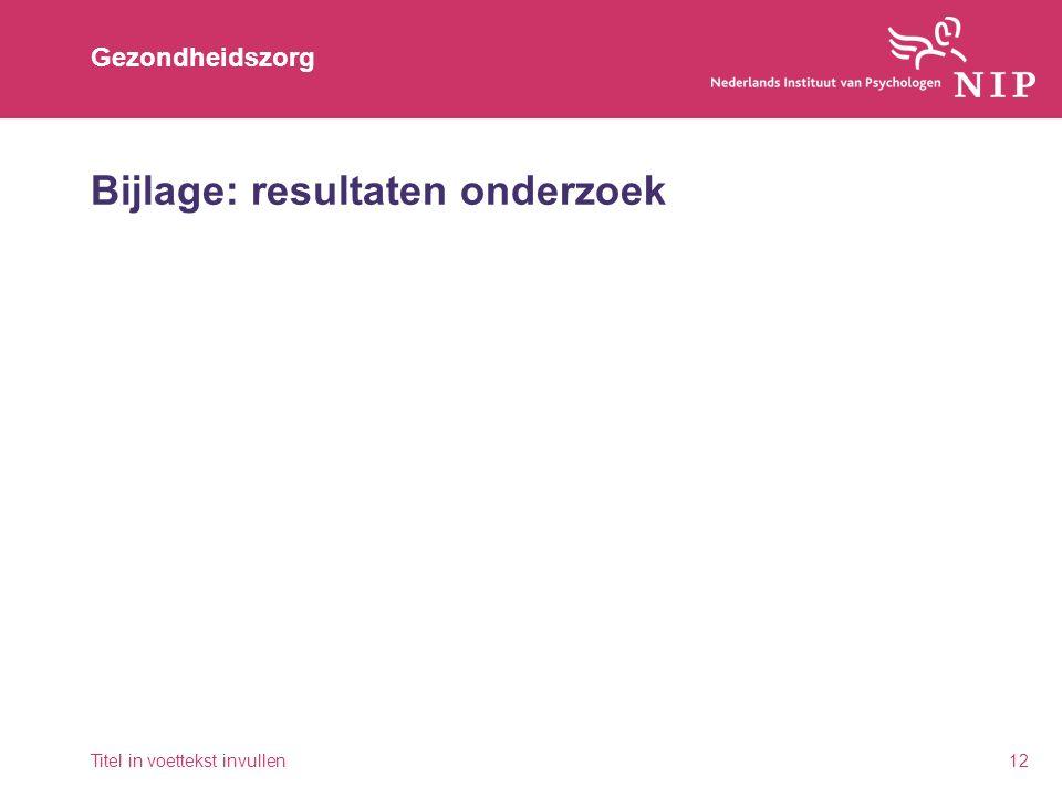 Gezondheidszorg Bijlage: resultaten onderzoek Titel in voettekst invullen12