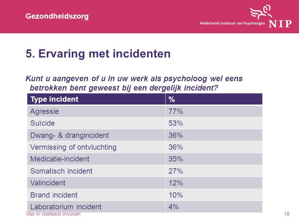 Gezondheidszorg 5. Ervaring met incidenten Kunt u aangeven of u in uw werk als psycholoog wel eens betrokken bent geweest bij een dergelijk incident?