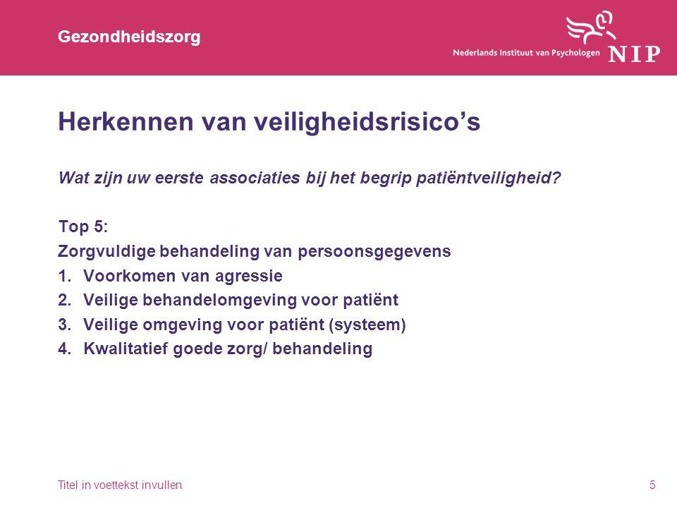 Gezondheidszorg Herkennen van veiligheidsrisico's Wat zijn uw eerste associaties bij het begrip patiëntveiligheid? Top 5: Zorgvuldige behandeling van