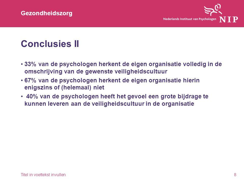 Gezondheidszorg Conclusies II 33% van de psychologen herkent de eigen organisatie volledig in de omschrijving van de gewenste veiligheidscultuur 67% v