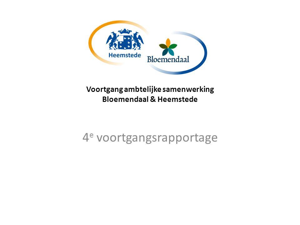 Voortgang ambtelijke samenwerking Bloemendaal & Heemstede FOCUS van de samenwerking blijft onverminderd: -Betere dienstverlening -Hogere kwaliteit -Vermindering kwetsbaarheid Metaforen: Ritssluiting Tweelingorganisatie
