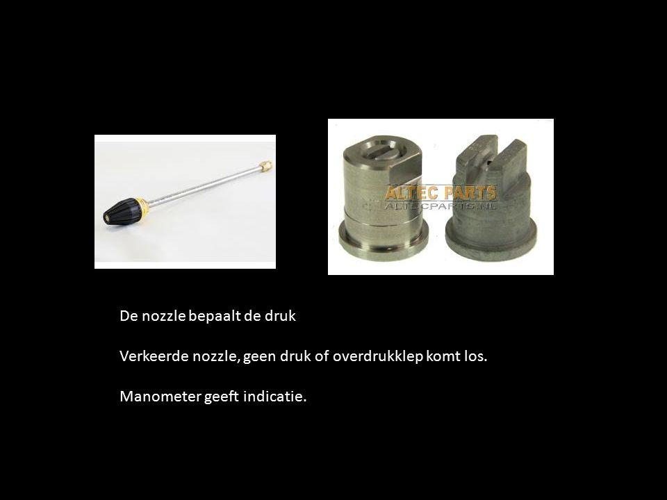 De nozzle bepaalt de druk Verkeerde nozzle, geen druk of overdrukklep komt los.