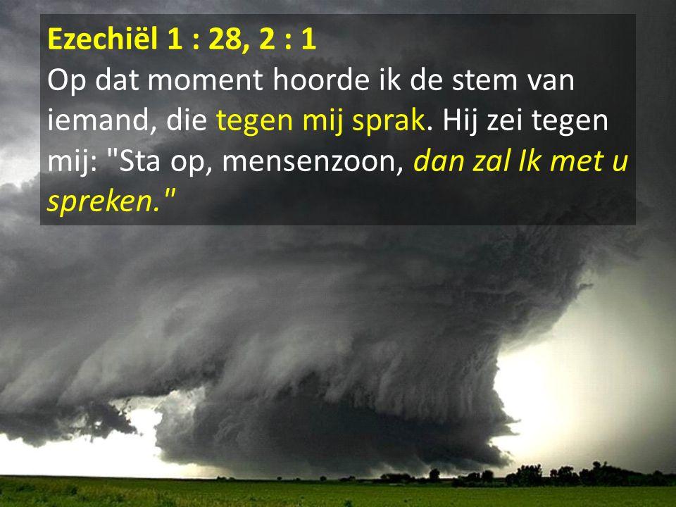Ezechiël 1 : 28, 2 : 1 Op dat moment hoorde ik de stem van iemand, die tegen mij sprak. Hij zei tegen mij: