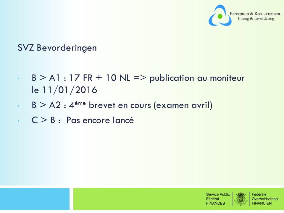 SVZ Bevorderingen B > A1 : 17 FR + 10 NL => publication au moniteur le 11/01/2016 B > A2 : 4 ème brevet en cours (examen avril) C > B : Pas encore lancé