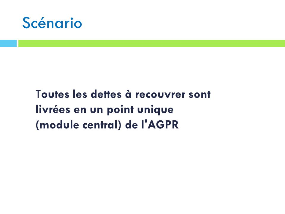 Scénario Toutes les dettes à recouvrer sont livrées en un point unique (module central) de l AGPR