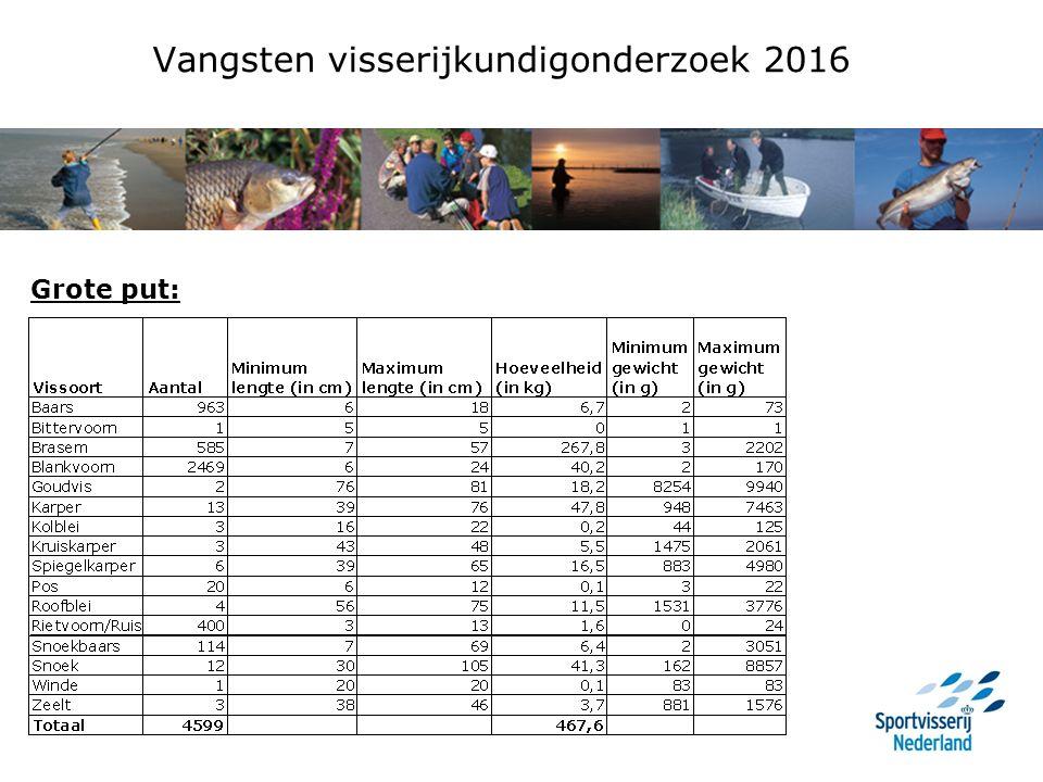 Vangsten visserijkundigonderzoek 2016 Grote put: