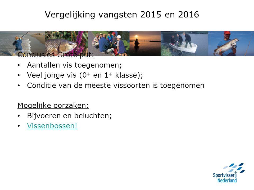 Vergelijking vangsten 2015 en 2016 Conclusies Grote put: Aantallen vis toegenomen; Veel jonge vis (0 + en 1 + klasse); Conditie van de meeste vissoorten is toegenomen Mogelijke oorzaken: Bijvoeren en beluchten; Vissenbossen!